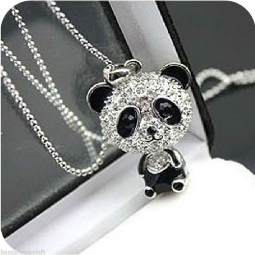PANDA NECKLACE LONG SILVER/GOLD PLATED RHINESTONE CRYSTAL PENDANT GIFT